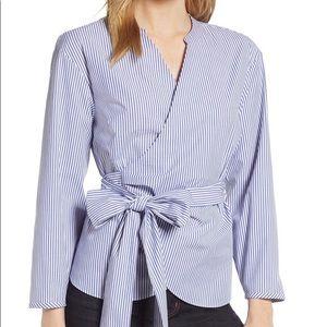 J Crew wrap blouse blue/white striped M